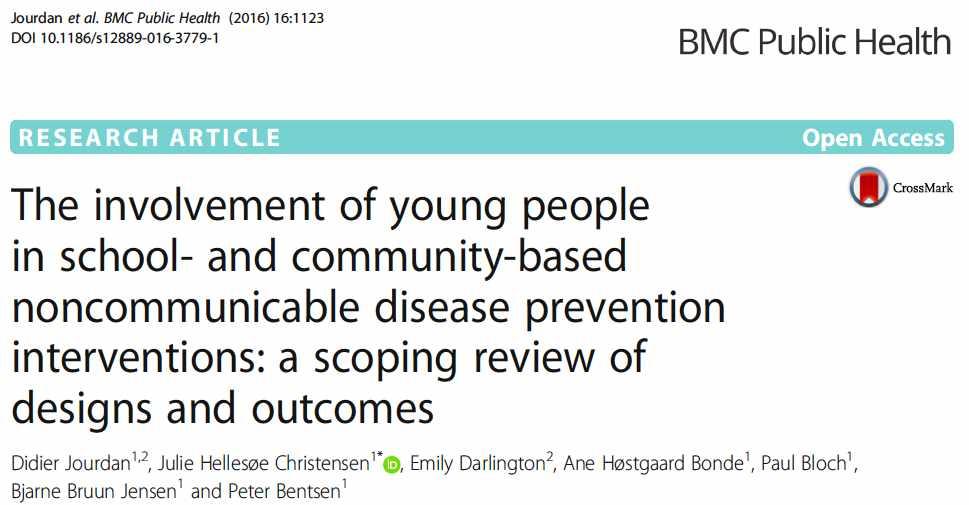 Publication d'un article dans BMC Public Health