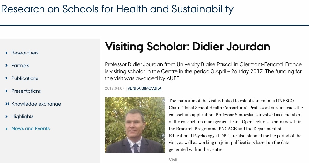 Didier Jourdan is visiting scholar in Aarhus University (Copenhagen)