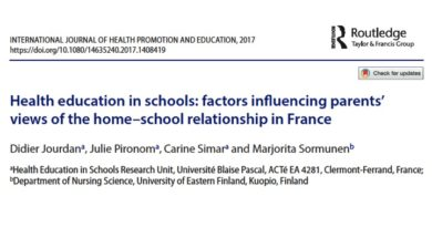 Publication de l'article « Health education in schools: factors influencing parents' views of the home–school relationship in France »