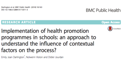 Publication de l'article Implementation of health promotion programmes in schools: an approach to understand the influence of contextual factors on the process?