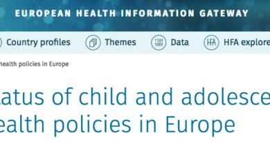 Le bureau de l'OMS pour la région Europe vient de mettre en ligne les données sur les politiques de santé en direction des enfants et des adolescents