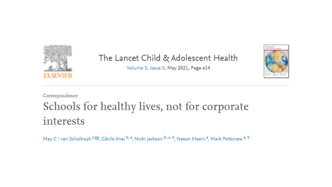 Schools for healthy lives, not for corporate interests
