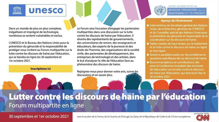 UNESCO : Lutter contre les discours de haine par l'éducation – Forum multipartite le 30 sept. et 1er octobre